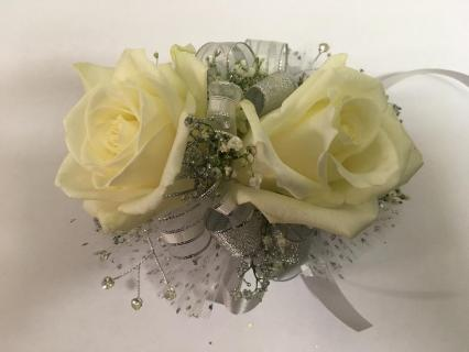 White & Silver Rose Corsage