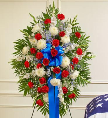 Deepest Red, White & Blue Standing Spray