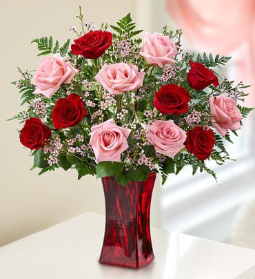 "Shades of Pink and Redâ""¢ Premium Long Stem Roses"